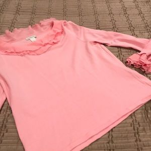 Harold's top, pink, ruffles at neck & wrists, XL
